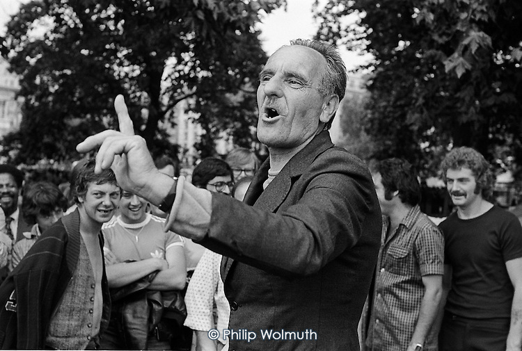 Geoffrey Smith, National Gypsy Council, Speakers Corner, Hyde Park, London; July 1978.