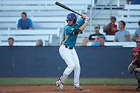 Sam Zayicek (23) (High Point) of the Mooresville Spinners at bat against the Concord A's at Moor Park on July 31, 2020 in Mooresville, NC. The Spinners defeated the Athletics 6-3 in a game called after 6 innings due to rain. (Brian Westerholt/Four Seam Images)