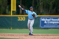 Tampa Bay Rays Wander Franco (4) throws to first base during a Minor League Spring Training game against the Baltimore Orioles on March 16, 2019 at the Buck O'Neil Baseball Complex in Sarasota, Florida.  (Mike Janes/Four Seam Images)