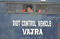 Pictured: A police riot van <br /> Re: Activists of the Congress political party clash with police in protest against price rises in oil, gas and other daily commmodities by BJP government in Agartala, in the Tripura area of India. Monday 10 September 2018