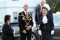 Pictured:  Malcolm Linton (left centre), Mayor of Newport arrives at Llandaff Cathedral, in Llandaff, Cardiff, Wales, UK. Sunday 11 November 2018<br /> Re: Commemoration for the 100 years since the end of the First World War on Remembrance Day at the Llandaff Cathedral, in Llandaff, Cardiff, Wales, UK.