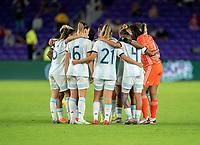 ORLANDO, FL - FEBRUARY 24: Argentina huddles during a game between Argentina and USWNT at Exploria Stadium on February 24, 2021 in Orlando, Florida.