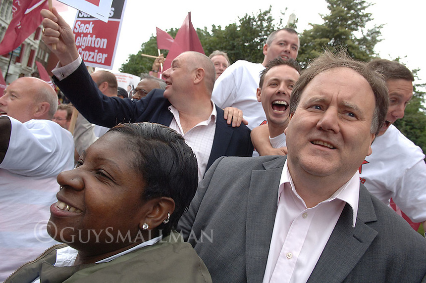 Members of the CWU (communication Workers Union) stage a one day strike in protest to cuts and privatisation. The union blamed Post Office bosses Adam Crozier and Allan Leighton for refusing to enter negotiations. On board the CWU battle bus.
