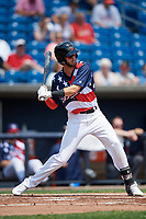 Quad Cities River Bandits shortstop David Hensley (15) at bat during a game against the West Michigan Whitecaps on July 23, 2018 at Modern Woodmen Park in Davenport, Iowa.  Quad Cities defeated West Michigan 7-4.  (Mike Janes/Four Seam Images)