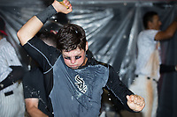 Mitch Roman (10) of the Kannapolis Intimidators celebrates after the win over the West Virginia Power clinched the South Atlantic League Northern Division first half title at Kannapolis Intimidators Stadium on June 18, 2017 in Kannapolis, North Carolina.  The Intimidators defeated the Power 5-3 to win the South Atlantic League Northern Division first half title.  It is the first trip to the playoffs for the Intimidators since 2009.  (Brian Westerholt/Four Seam Images)