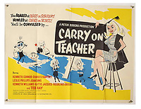 BNPS.co.uk (01202 558833)<br /> Pic: Ewbank's/BNPS<br /> <br /> Pictured: Carry On Teacher (1959) poster sold for £310. <br /> <br /> A saucy collection of more than 20 vintage film posters from the 'Carry On' films have sold for almost £10,000.<br /> <br /> The 30ins by 40ins British quad posters were used on cinema billboards to advertise the comedy movies from the 1960s and '70s.<br /> <br /> The colourful posters depict comedy actors like Sid James, Kenneth Williams and Barbara Windsor who regularly starred in the comedy caper franchise.