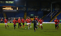 Fleetwood Town's players during the pre-match warm-up  the The Checkatrade Trophy match between Bury and Fleetwood Town at Gigg Lane, Bury, England on 9 January 2018. Photo by Juel Miah/PRiME Media Images.