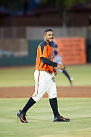 AZL Giants center fielder Heliot Ramos (31) walks towards center field between innings against the AZL Padres 2 on July 13, 2017 at Scottsdale Stadium in Scottsdale, Arizona. AZL Giants defeated the AZL Padres 2 11-3. (Zachary Lucy/Four Seam Images)