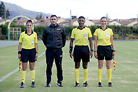 CHIA - COLOMBIA, 03 -02-2021: Luis Delgado arbitro con los jueces asistentes Jenny Torres, Wilmer Gantiva, Mary Blanco durante partido entre Fortaleza CEIF y Tigres F.C. por la fecha 1 como parte del Torneo BetPlay DIMAYOR I 2021 jugado en el estadio Municipal de la ciudad de Chía. / Luis Delgado referee with asisstant referees Jenny Torres, Wilmer Gantiva, Mary Blanco during a match between Fortaleza CEIF and Tigres F.C. for the date 1 as part of BetPlay DIMAYOR Tournament I 2021 played at Municipal of Chia city. Photo: VizzorImage / Samuel Norato / Cont