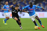 Samuele Ricci of Empoli FC and Kalidou Koulibaly of SSC Napoli compete for the ball during the Italy Cup football match between SSC Napoli and Empoli FC at stadio Diego Armando Maradona in Napoli (Italy), January 13, 2021. <br /> Photo Cesare Purini / Insidefoto