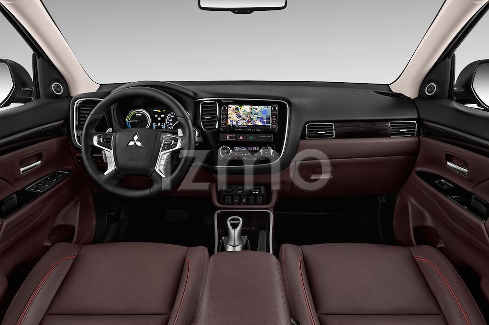 Stock photo of straight dashboard view of 2016 Mitsubishi Outlander Phev PHEV 5 Door Suv Dashboard