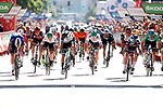 Jasper Philipsen (BEL) Alpecin-Fenix wins Stage 2, ahead of Fabio Jakobsen (NED) Deceuninck-Quick Step andMichael Matthews (AUS) Team BikeExchange, of La Vuelta d'Espana 2021, running 166.7km from Caleruega. VIII Centenario de Santo Domingo de Guzmán to Burgos. Gamonal, Spain. 15th August 2021.    <br /> Picture: Luis Angel Gomez/Photogomezsport   Cyclefile<br /> <br /> All photos usage must carry mandatory copyright credit (© Cyclefile   Luis Angel Gomez/Photogomezsport)