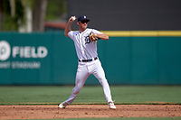 Detroit Tigers shortstop Gage Workman (27) throws to first base during a Florida Instructional League game against the Pittsburgh Pirates on October 16, 2020 at Joker Marchant Stadium in Lakeland, Florida.  (Mike Janes/Four Seam Images)