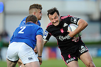 Jérémy Sinzelle of Stade Francais is tackled by Sean Cronin (left) and Ian Madigan of Leinster during the Amlin Challenge Cup Final between Leinster Rugby and Stade Francais at the RDS Arena, Dublin on Friday 17th May 2013 (Photo by Rob Munro).