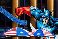 Captain America illustration at Marvel Superheroes Island, in Universal Studios Florida theme park, Orlando, USA