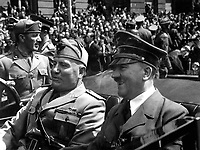 Fuhrer und Duce in Munchen.  Hitler and Mussolini in Munich, Germany, ca.  June 1940.  Eva Braun Collection.  (Foreign Records Seized)<br /> Exact Date Shot Unknown