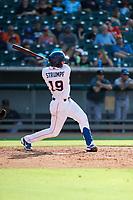 Tennessee Smokies third baseman Chase Strumpf (19) at bat against the Rocket City Trash Pandas at Smokies Stadium on July 2, 2021, in Kodak, Tennessee. (Danny Parker/Four Seam Images)