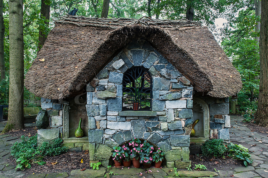 Thatched cottage in the Enchanted Woods at Winterthur Gardens, Delaware, USA