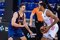 11th April 2021; Palau Blaugrana, Barcelona, Catalonia, Spain; Liga ACB Basketball, Barcelona versus Real Madrid; 16 Pau Gasol of Barcelona defends during the Liga Endesa match