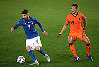 Football: Uefa Nations League Group A match Italy vs Netherlands at Gewiss stadium in Bergamo, on October 14, 2020.<br /> Italy's Jorinho (l) in action with Netherlands' Luuk de Jong (r) during the Uefa Nations League match between Italy and Netherlands at Gewiss  stadium in Bergamo, on October 14, 2020. <br /> UPDATE IMAGES PRESS/Isabella Bonotto