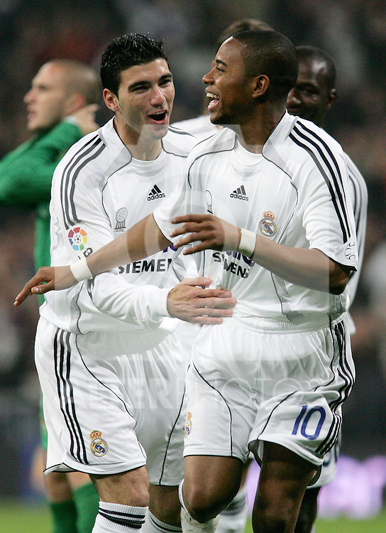 Real Madrid's Robinho is congratulated by teammate Jose Antonio Reyes  after scoring during Spain's King's Cup match at Santiago Bernabeu stadium in Madrid, Thursday January 19, 2007. (ALTERPHOTOS/Alvaro Hernandez).