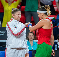 The Hague, The Netherlands, Februari 7, 2020,    Sportcampus, FedCup  Netherlands -  Balarus, Seccond match on friday: Aryna Sabalenka (BLR) with her captain<br /> Photo: Tennisimages/Henk Koster