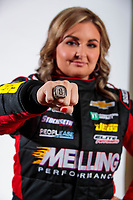 Feb 6, 2020; Pomona, CA, USA; NHRA pro stock driver Erica Enders poses for a portrait with her championship ring during NHRA Media Day at the Pomona Fairplex. Mandatory Credit: Mark J. Rebilas-USA TODAY Sports