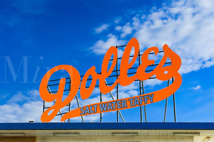 Dolles salt water taffy sign, Bethany Beach, Delaware, USA