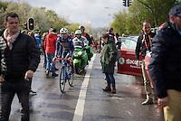 Gaetan Bille (BEL/Wanty-Groupe Gobert) after finishing searching for the teambus<br /> <br /> 102nd Liège-Bastogne-Liège 2016