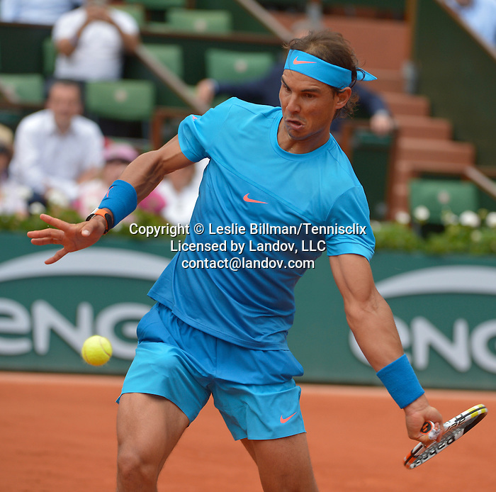 Rafael Nadal (ESP) defeats Quentin Halys, 6-3, 6-3, 6-4 at  Roland Garros being played at Stade Roland Garros in Paris, France on May 26, 2015