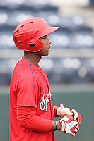 Yeyson Yrizarri (2) of the Spokane Indians before a game against the Everett AquaSox at Everett Memorial Stadium on July 25, 2015 in Everett, Washington. Spokane defeated Everett, 10-1. (Larry Goren/Four Seam Images)