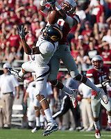 Marvin Jones pulls in the tough catch against Deone Bucannon. The University of California football defeated Washington State University 20-13 at Martin Stadium in Pullman, Washington on November 6th, 2010.