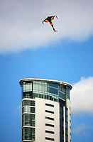 Pictured: A kite flies over Meridian Quay. Saturday 01 July 2017<br /> Re: National Wales Air Show in Swansea Bay, Wales, UK.