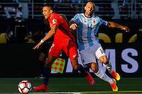 Action photo during the match Argentina vs Chile at Levis Stadium Copa America Centenario 2016. ---Foto  de accion durante el partido Argentina vs Chiler, En el Estadio de la Universidad de Phoenix, Partido Correspondiante al Grupo - D -  de la Copa America Centenario USA 2016, en la foto: (i)-(d) Alexis Sanchez, Javier Mascherano<br /> <br /> --- 06/06/2016/MEXSPORT/PHOTOSPORT/ Andres Pina