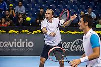 VALENCIA, SPAIN - OCTOBER 28: Radek Stepanek and Bernard Tomic during Valencia Open Tennis 2015 on October 28, 2015 in Valencia , Spain