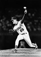 Jim Abbott of the California Angels during a 1989 season game at Anaheim  Stadium in Anaheim,California.(Larry Goren/Four Seam Images)
