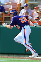 Catcher Spencer Kieboom #22 runs to first during a  game against the Miami Hurricanes at Doug Kingsmore Stadium on March 31, 2012 in Clemson, South Carolina. The Tigers won the game 3-1. (Tony Farlow/Four Seam Images)..
