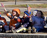 HARTFORD, CT- 03 JANUARY 07- 010307JT28-<br /> Garrett, 4, Anthony, 4, and Kaci, 3, from a day care center in East Hartford, eagerly await the Governor's parade on Wednesday preceding Rell's swearing-in ceremonies, in Hartford.<br /> Josalee Thrift Republican-American