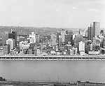 Pittsburgh PA:  View of the city's skyline.  The view includes the Grant, William Penn Place, and Gulf Buildings, and the many businesses on Fort Pitt Boulevard.