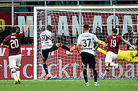 Khouma Babacar of Lecce scores the goal of 1-1 for his side <br /> Milano 20/10/2019 Stadio Giuseppe Meazza <br /> Football Serie A 2019/2020 <br /> AC Milan - Lecce <br /> Photo Image Sport / Insidefoto