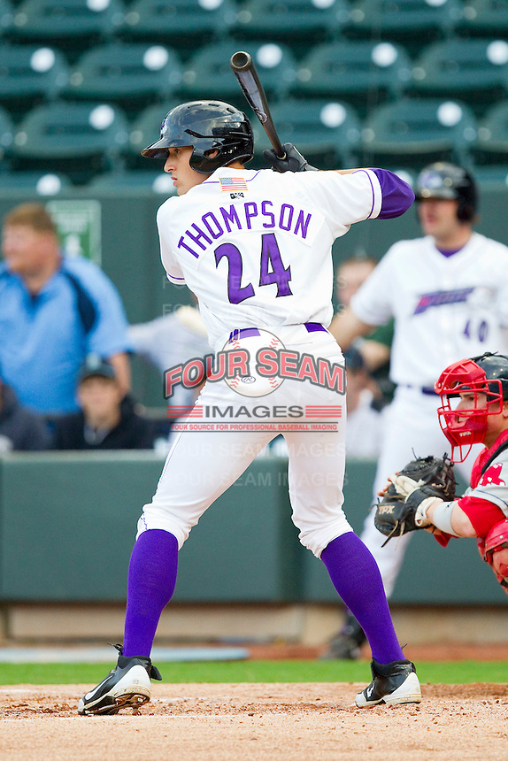 Trayce Thompson #24 of the Winston-Salem Dash at bat against the Salem Red Sox at BB&T Ballpark on May 5, 2012 in Winston-Salem, North Carolina.  The Red Sox defeated the Dash 6-4.  (Brian Westerholt/Four Seam Images)