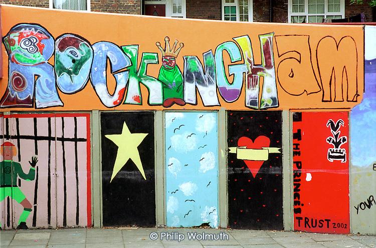 Mural and graffiti on Rockingham Estate, Elephant and Castle, London.