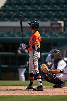 Baltimore Orioles Lamar Sparks (70) bats during a Minor League Spring Training game against the Detroit Tigers on April 14, 2021 at Joker Marchant Stadium in Lakeland, Florida.  (Mike Janes/Four Seam Images)