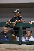 Chicago White Sox base running coach Vince Coleman watches the action from the Charlotte Knights dugout during the game against the Durham Bulls at BB&T BallPark on July 22, 2015 in Charlotte, North Carolina.  The Knights defeated the Bulls 6-4.  (Brian Westerholt/Four Seam Images)
