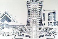 P. Soleri:  Babel 11D, section.  1500 meters high.  Photo '77.