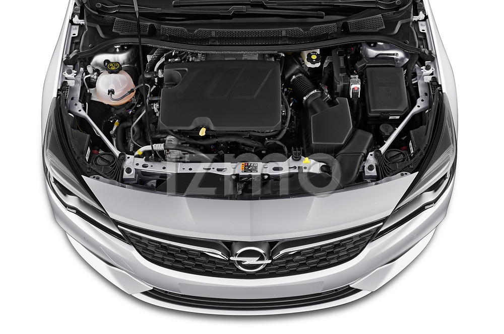 Car Stock 2020 Opel Astra Edition 5 Door Hatchback Engine  high angle detail view