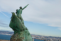 Memorial statue to commemorate sailors and fishermen who drowned at sea, Palais du Pharo, Marseille, France, 04 February 2013