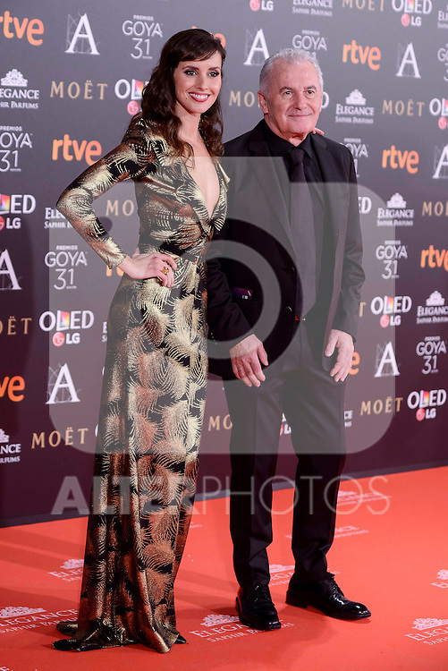 Marina San Jose and Victor Manuel attends to the Red Carpet of the Goya Awards 2017 at Madrid Marriott Auditorium Hotel in Madrid, Spain. February 04, 2017. (ALTERPHOTOS/BorjaB.Hojas)