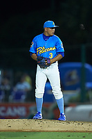 Myrtle Beach Pelicans relief pitcher Jesus Camargo (3) looks to his catcher for the sign against the Winston-Salem Dash at TicketReturn.com Field on May 16, 2019 in Myrtle Beach, South Carolina. The Dash defeated the Pelicans 6-0. (Brian Westerholt/Four Seam Images)