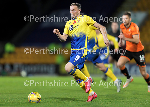 St Johnstone v Dundee United…10.11.20   McDiarmid Park      BetFred Cup<br />Chris Kane launches an attack<br />Picture by Graeme Hart.<br />Copyright Perthshire Picture Agency<br />Tel: 01738 623350  Mobile: 07990 594431